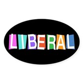 Colorful Retro Liberal Oval Sticker