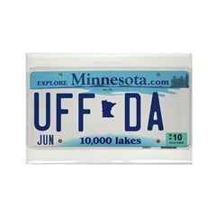 Uffda License Plate Shop Rectangle Magnet