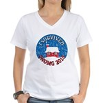 I Survived SNOMG 2010 Women's V-Neck T-Shirt