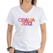 Obama Flowers 2012 Women's V-Neck T-Shirt