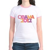 Obama Flowers 2012 Jr. Ringer T-Shirt