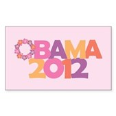 Obama Flowers 2012 Sticker (Rectangle)