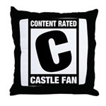 Content Rated C: Castle Fan Throw Pillow