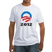 Obama 2012 Pixel Logo Fitted T-Shirt
