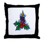 Candle with Holly Throw Pillow