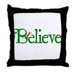 Believe with Santa Hat Throw Pillow