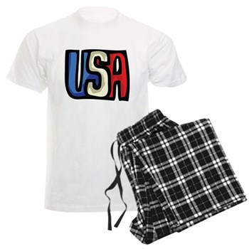 Red, White and Blue USA Men's Light Pajamas