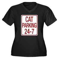 Cat Parking Women's Plus Size V-Neck Dark T-Shirt