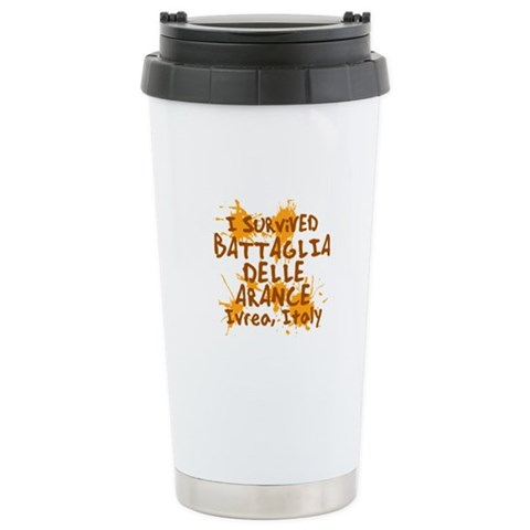 Battle of Oranges Stainless Steel Travel Mug