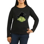 Happy Green Witch Women's Long Sleeve Dark T-Shirt