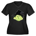 Happy Green Witch Women's Plus Size V-Neck Dark T-Shirt