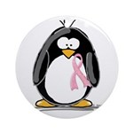 Breast Cancer penguin Ornament (Round)