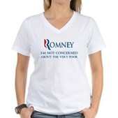 Anti-Romney: Very Poor Women's V-Neck T-Shirt