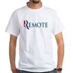 This anti-Romney design is a spoof of the Mitt Romney 2012 campaign logo that reads REMOTE. That's what Romney is - removed from the struggles of the average American, caring for his rich friends. Boo