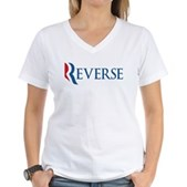 Anti-Romney Reverse Women's V-Neck T-Shirt