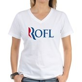 Anti-Romney ROFL Women's V-Neck T-Shirt