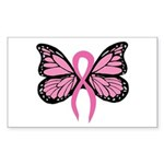 Breast Cancer Butterfly Sticker (Rectangle)