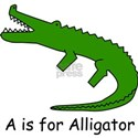 A is for Alligator White T-Shirt