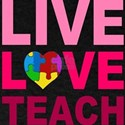 Live Love Teach Autism Dark T-Shirt