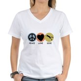 Peace Love Dive Women's V-Neck T-Shirt