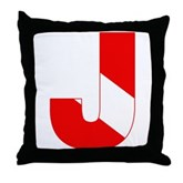 Scuba Flag Letter J Throw Pillow
