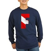 Scuba Flag Letter F Long Sleeve Dark T-Shirt
