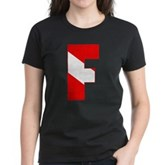 Scuba Flag Letter F Women's Dark T-Shirt