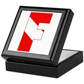 Scuba Flag Letter F Keepsake Box