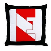 Scuba Flag Letter E Throw Pillow