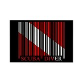 Barcode Dive Flag Rectangle Magnet