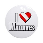 Scuba: I Love Maldives Ornament (Round)