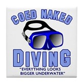 Coed Naked Diving Tile Coaster