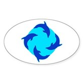 Dolphin Ring Oval Sticker